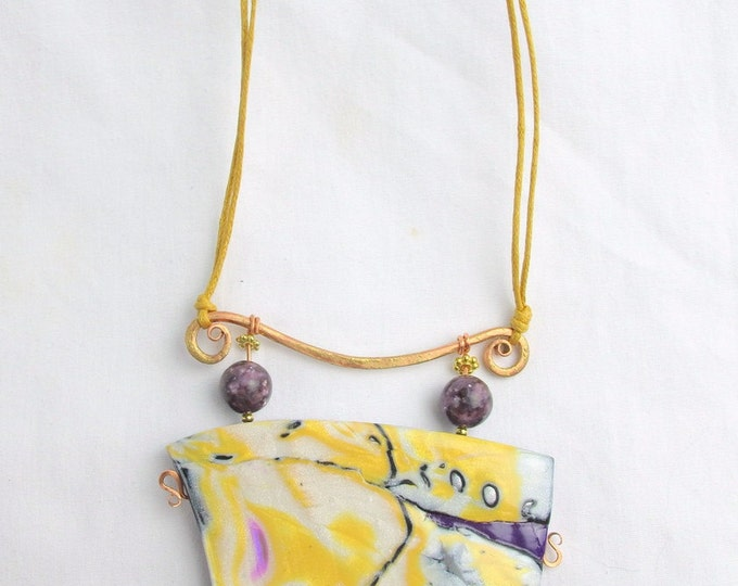 Handcrafted  Polymer Clay Pendant w Lavender Lepidolite & Genuine Cotton Necklace (2)