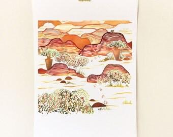 Kimberley A3 Print - Watercolour  Illustration