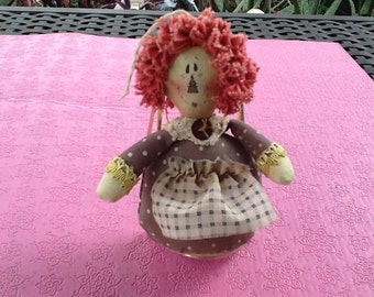 Mini Raggedy Ann Doll. All Cloth. 3 & 1/4 inches tall. Orange, rust, white. Vintage Mini Raggedy Ann Doll