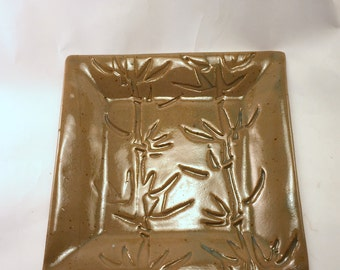 Square Bamboo Plate with Clear Green Glaze, Ready to Ship