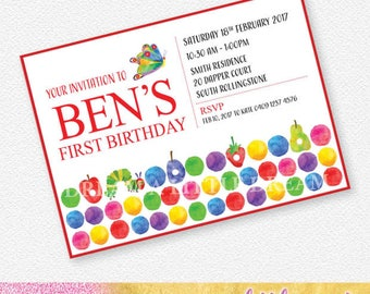 Hungry Caterpillar invitation |  Personalised Digital file