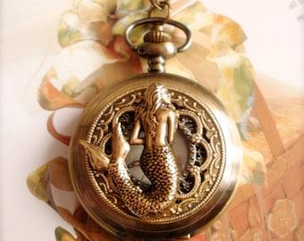 Mermaid Watch Necklace, Mermaid Pendant Pocket Watch Necklace, Steampunk Long Necklace, Mermaid Jewelry, Antique Bronze Watch Necklace