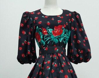 Rose Border Print Dress