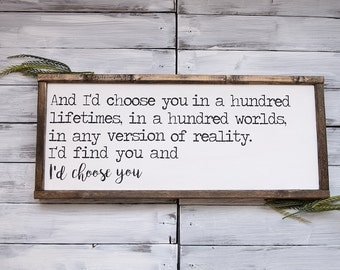 Id Choose You | Farmhouse Sign | Farmhouse Decor | Rustic Decor | Rustic Sign | Rustic | Wood Sign | Framed Sign | Farmstyle |  Sign