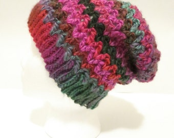 Crochet Soft Slouchy Hat in Pink and Green
