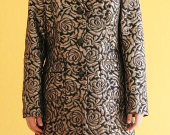 90s damask / brocade black and gold coat