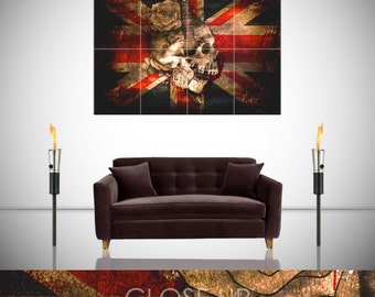 Union Jack British Flag Gothic Skull Grunge Urban Giant Poster in 8 or 4 Pieces Wall Art Print