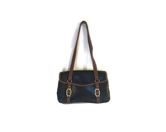 SALE Vintage Black Leather Buckle Purse BOHO Hipster handbag 1980s purse