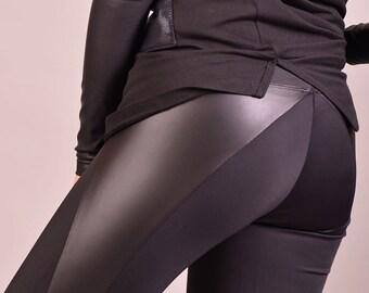 Leather Pants, Workout Leggings, Futuristic Clothing, Sexy Yoga Pants, Women Pants, Black Leggings, Black Tights, Stretch Leggings