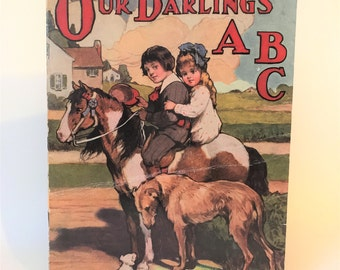Antique 1913 Child's Linen Book: Our Darling's ABC