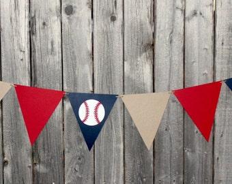 Baseball Birthday Garland - Baseball Baby Shower - Party Garland - Pennant Banner - Baseball Nursery - Baseball Garland - Boy Baby Shower