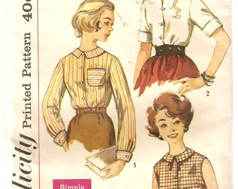 VINTAGE Simplicity Sewing Pattern 3558 - Women's Clothes - Misses Blouse, Size 14
