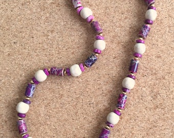 Necklace with Pink and Purple Stones