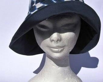 women's hat, handmade, feminine romantic style, Audrey style, blu