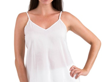 "Camisole Top 100% Cotton - Spirituelle ""Celine"" White, Black & Crema XS - 3XL"