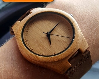 engraved wood watch wood watches engraving men women weddings groomsmen made in usa graduation birthday christmas father s day gift genuine leather band bamboo