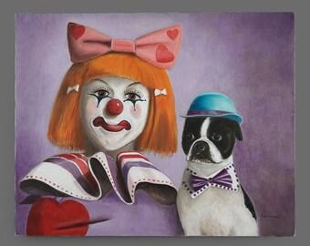 Vintage Acrylic Female Clown & Pug Painting 16 x 20 Circus Art