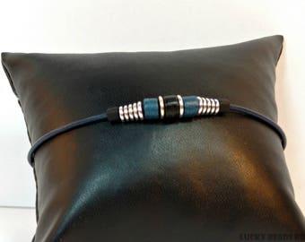 Leather anklet ankle bracelet mens anklet mens leather anklet blue anklet mens ankle bracelet mens gift foot jewelry gift for him RLA-29-03
