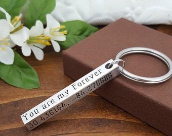 Anniversary Keychain | Coordinates Keychain | Husband Keychain | Boyfriend Gift | Roman Numeral | Personalized Bar Keychain | Gifts For Dads