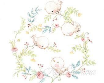 "Art Print ""BIRDS"" Shabby Chic, Floral art."