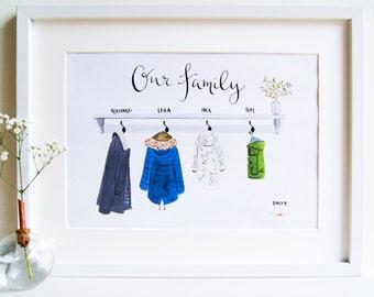 Custom Illustrated family art print // Family portrait // Raincoats