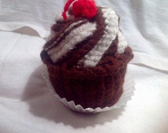 Crochet Amigurumi Chocolate Cupcake with Cherry