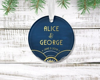 ALICE . Ornament Art Deco Great Gatsby 1920s Gold Silver & Black Navy Holiday Custom Anniversary Gift Keepsake Newlywed . 3 inch Circle