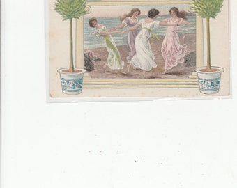 Four Women In Filmy Dresses Dance In Circle Framed By Embossed Topiary&Architectural Details-Antique C 1910s Postcard-On Beach