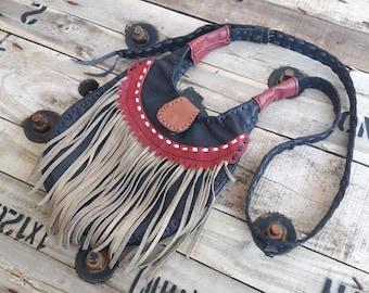 Unique Handmade Leather/Crossbody Bag/Leather Bag/Shoulder Leather Bag/Gypsy Bag/Sling Bag/Hippie/Bag/Hobo Bag/Hip Leather Bag