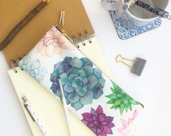 Succulent, Pouch, Succulent Lover Gift, Pencil Case, Succulent Illustration, Cosmetic Bag, Succulent Print, Gardener Gift, Make Up Bag, Bag