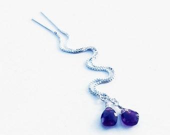 Amethyst Threader Earrings, Chain Earrings, Purple Stone Sterling Silver Ear Thread Earrings, Long Dangle Earrings, February Birthstone