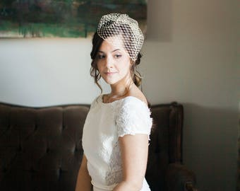 Mini Birdcage Veil, Birdcage Veil, Short Veil, Wedding Veil, Bridal Headpiece, Voilette, Fascinator Veil- Style 205- Alana