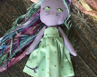 Unikitty, cat doll, unicorn doll, handmade doll, heirloom doll, cloth doll, rag doll