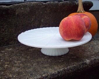 Vintage Milk glass Cake stand, white pedestal dessert plate serving, rustic wedding table decor, retro kitchen, Anchor Hocking starburst