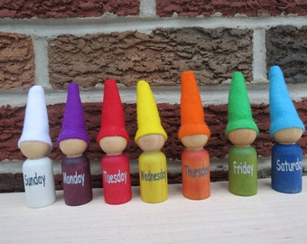 Days of The Week Gnomes, Waldorf Days of the week, Waldorf Peg Doll, Rainbow Peg People, Learning Toy