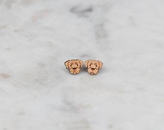 Wooden Rottweiler Earrings - Stud Earrings - Dog Earrings - Lasercut - Wood Earrings
