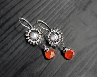Carnelian & Pearl Silver Jhumkas, pearl earrings, carnelian dangles, bali earrings, ethnic jewelry, orange white jewelry, indian jewelry
