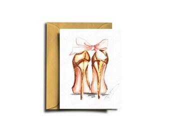 High heels card, Fashion heels card, Christmas card, Heels notecard, Heels gift card, Holiday card, Fashion card, Fashion illustration
