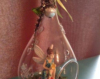 Beautiful tear drop glass fairy garden terrarium or ornament