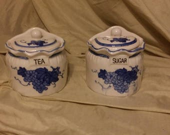 Vintage, TEA And SUGAR CANISTERS, Blue, White, Ceramic, Grape, Wall