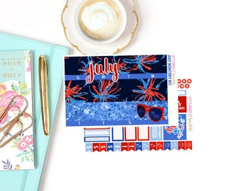 July Monthly Kit, USA (for Vertical, Horizontal and Hourly Erin Condren Life Planners), Monthly Spread Stickers, July Monthly Stickers, July