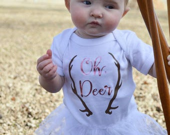 Baby Girl Tutu - Oh Deer Baby Girl - Oh Deer Bodysuit - Oh Deer Baby - PInk and White Baby Outfit - Oh Deer- Gift for Baby - Photo Prop