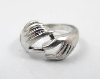 Sterling Silver Fede Gimmel Ring, Two Hands Clasped Sweetheart Friendship Unique Wedding Engagement Band Size 6.50