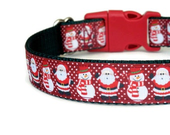 Red Santa Claus and Snowmen Dog Collar - Christmas Dog Collar (Buckle or Martingale)
