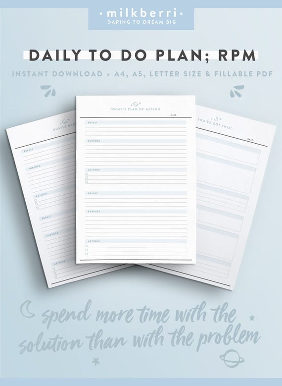 Daily Planner Sheet   RPM. Results Purpose Action. Tony Robbins.  Productivity Planner. To Do List. Planner Inserts. A4. Letter. A5 Inserts  Day Planner Sheet