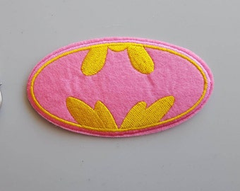 Batman Applique Pink Batman Applique Batgirl Applique Iron On Pink Embroidered