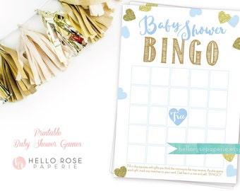 Blue and Gold Baby Shower Bingo Cards Game . Printable Baby Shower Game . Instant Download . Boy Baby Shower . Blue and Gold Baby Shower