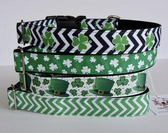 St. Patrick's Day Dog Collars - Green Shamrock Chevron, Glitter Shamrock, Leprechaun Hat, Green Chevron