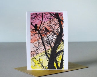 Birds in tree gocco print greetings card - blank birthday card - pink red orange