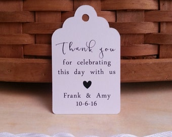 25 Thank you for Celebrating With Us Tags, Thank You Tags, Custom Thank You Favor Tags, Thank you for Celebrating with Us Tags
